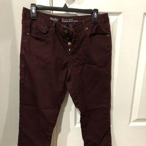Mossimo Burgundy Skinny Jeans GENTLY WORN